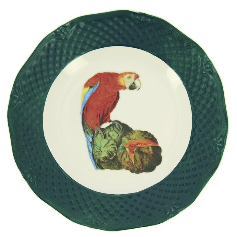 Plato verde Bogdány Bodegón de frutas con loros y cacatua blanca