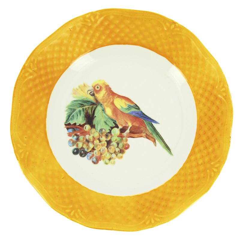 Plato amarillo Bogdány Bodegón de frutas con loros y cacatua blanca