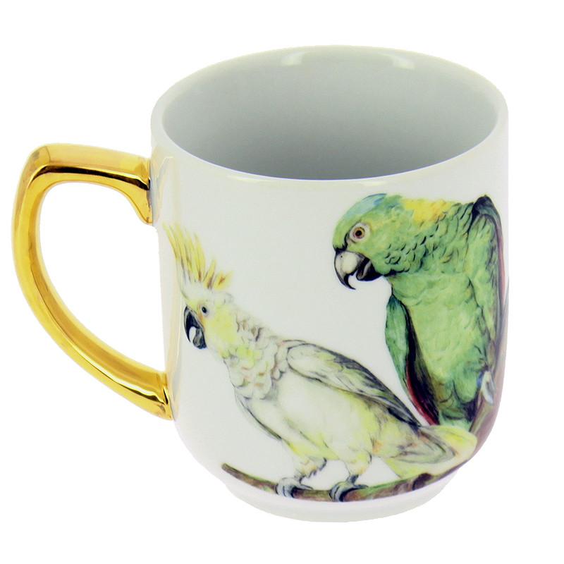 Taza de porcelana Bogdány Bodegón de frutas con loros y cacatua blanca: Loro verde