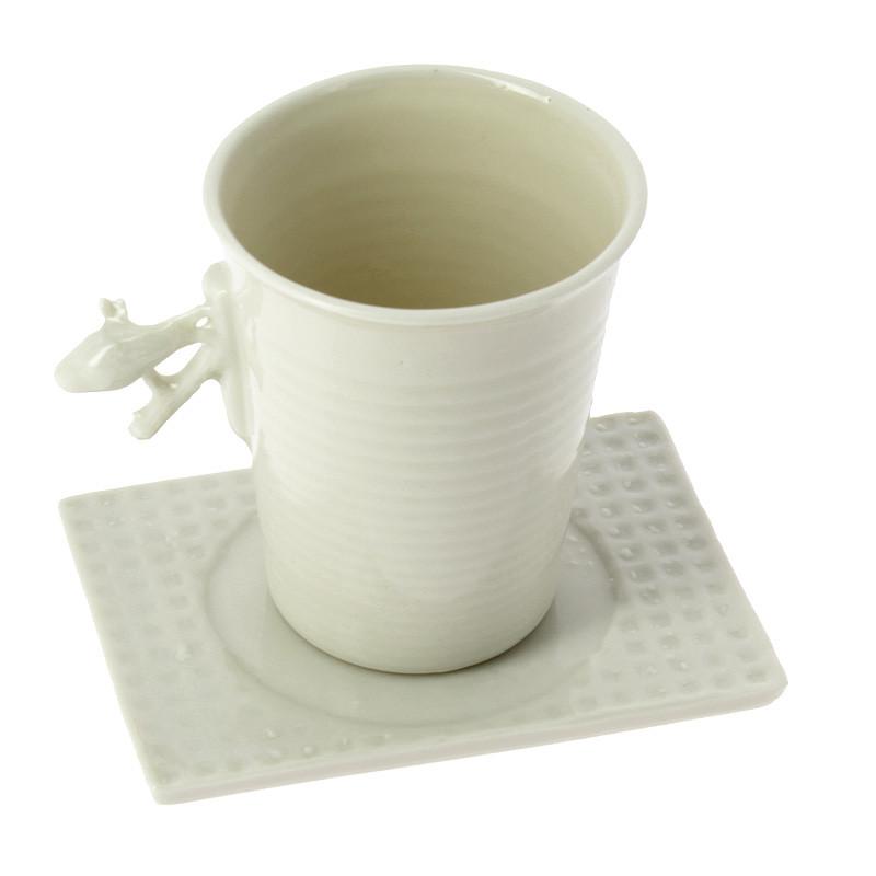 Taza con plato porcelana Pájaro en rama