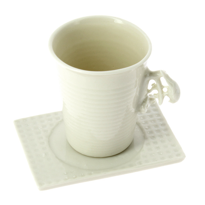 Taza con plato porcelana Pájaro