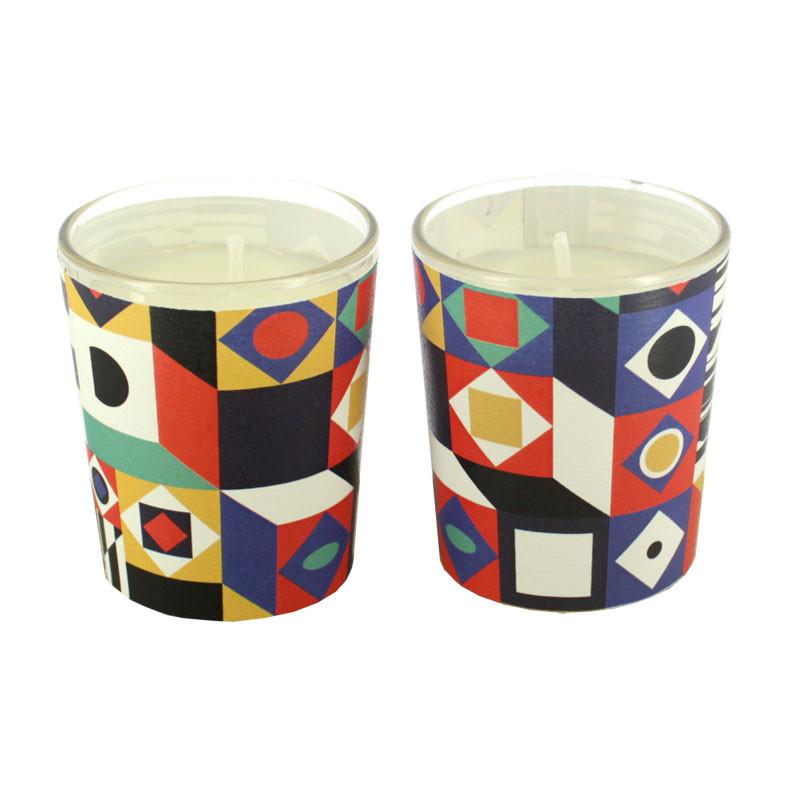 Set de dos velas en vaso Op Art
