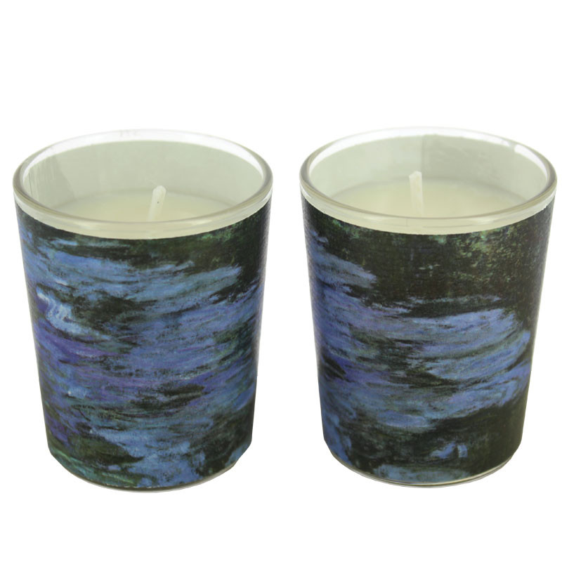 Set de dos velas en vaso Nenúfares