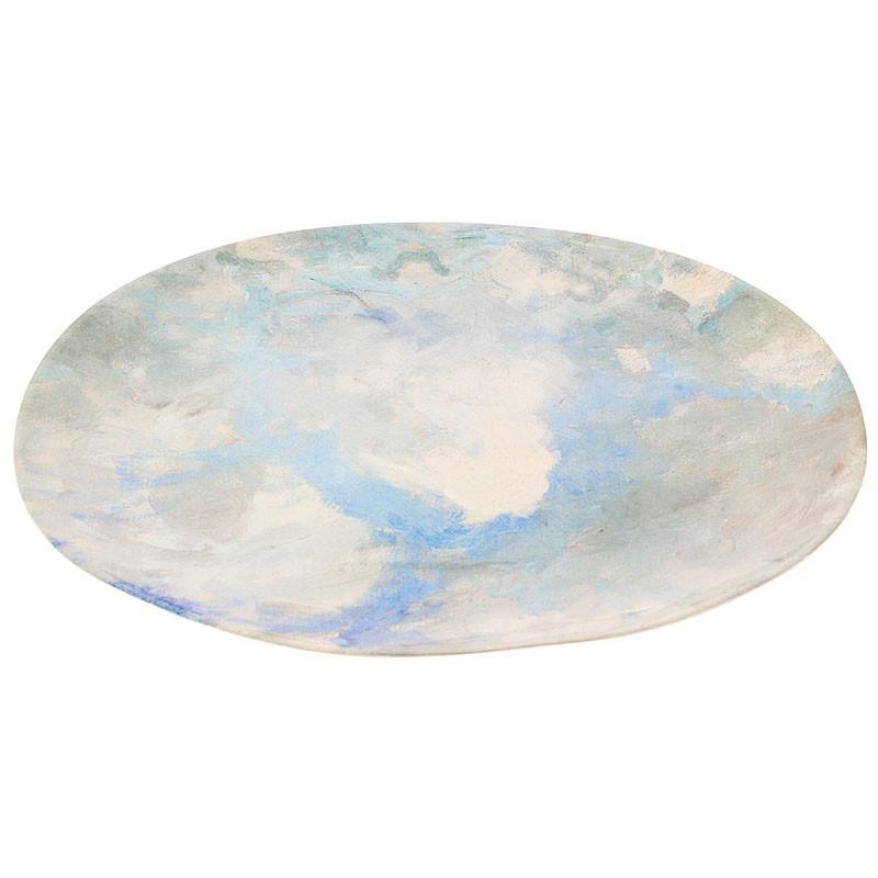 Bandeja oval de loza cielo de Port Marly de Sisley