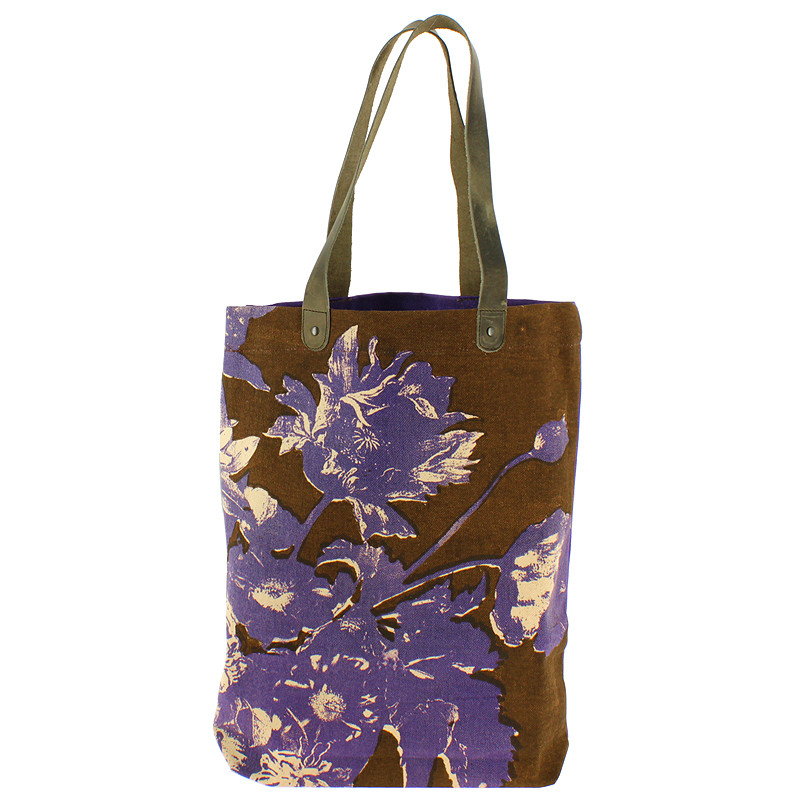Bolso Flores Linard morado y marrón