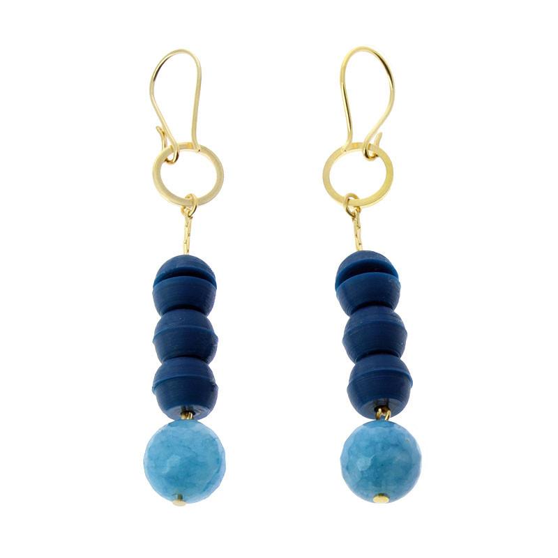 Pendientes azules Sonia Delaunay por Helena Rohner