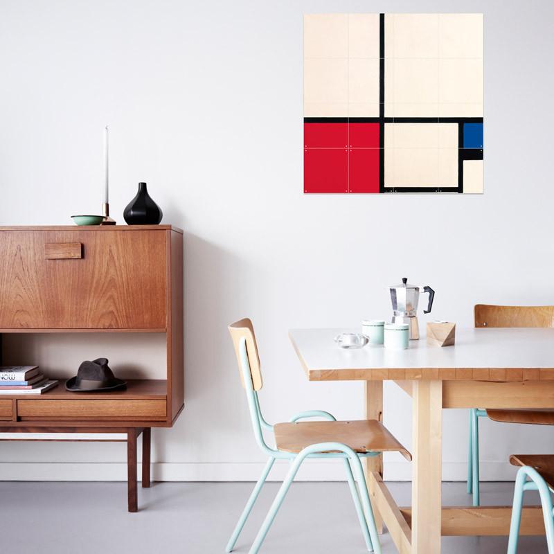 Decoración mural IXXI 80 X 80 Composición de colores Piet Mondrian