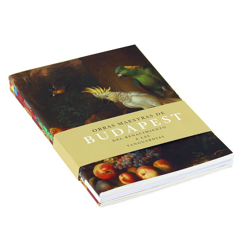 Set 3 libretas Bogdány Bodegón de frutas con loros y cacatua blanca