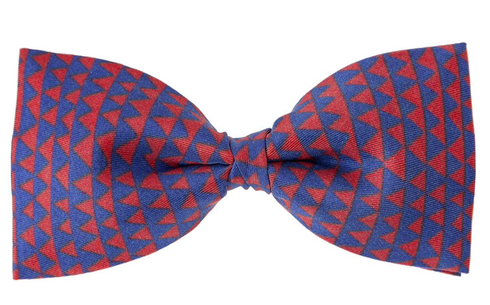 Pajarita de seda Delaunay rojo y azul