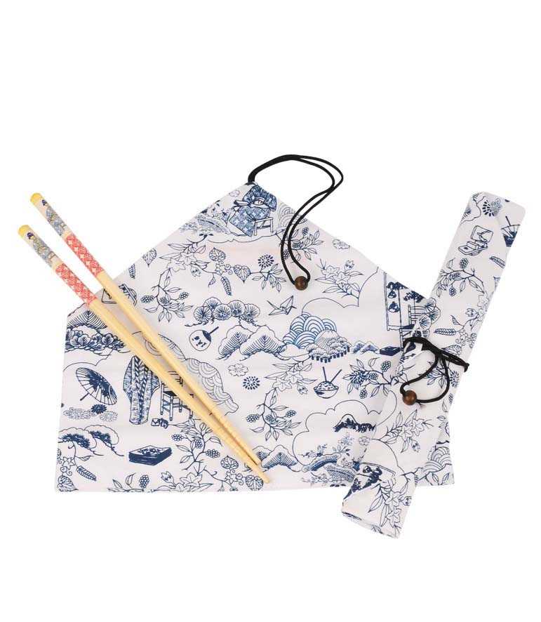 """Set bolsa y palillos chinos """"El quimono"""""""