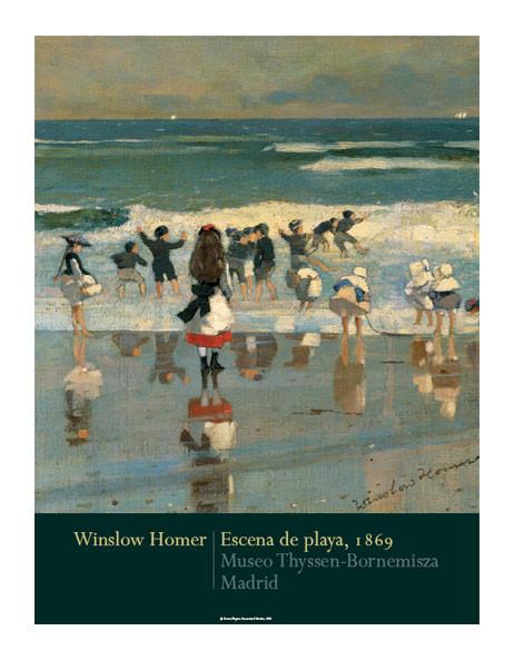 Póster Winslow Homer: Escena de playa