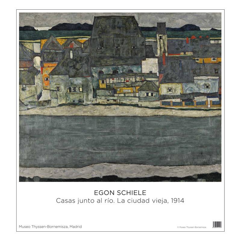 Póster Schiele: Casas junto al río