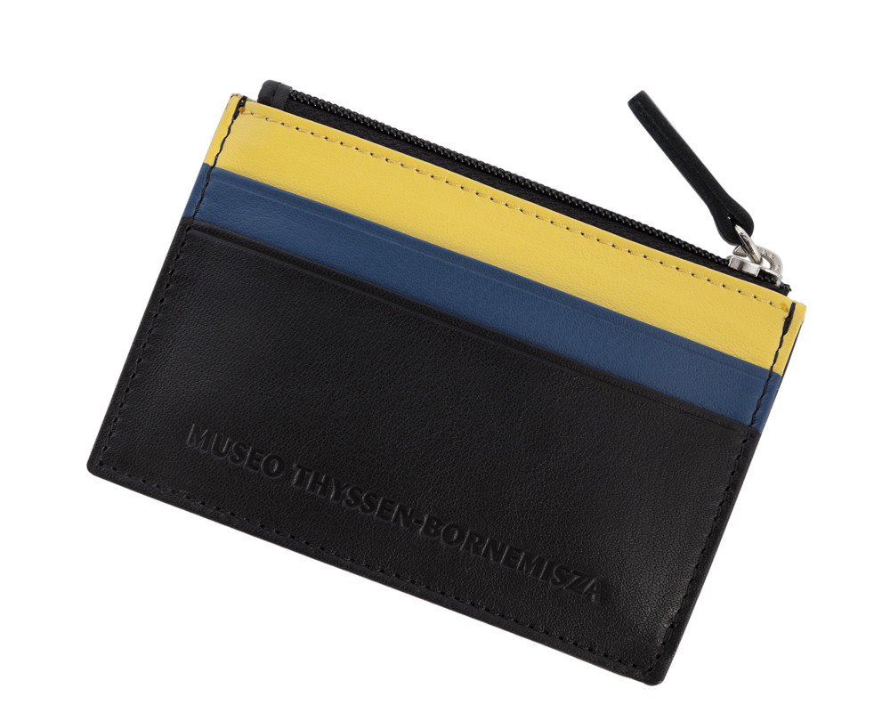 Tarjetero Doesburg negro, azul y amarillo