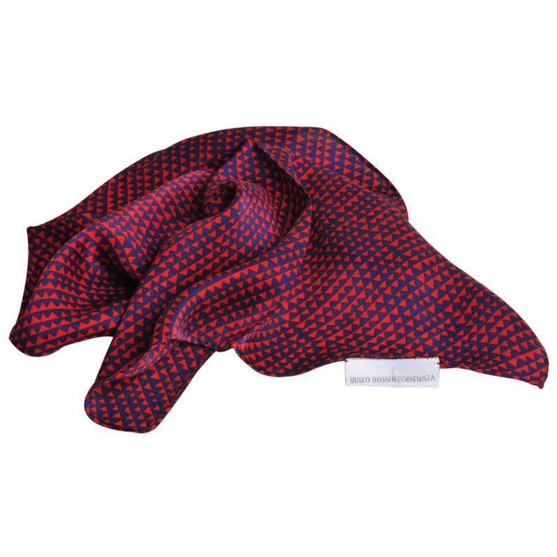 Pañuelo de seda Delaunay azul y rojo