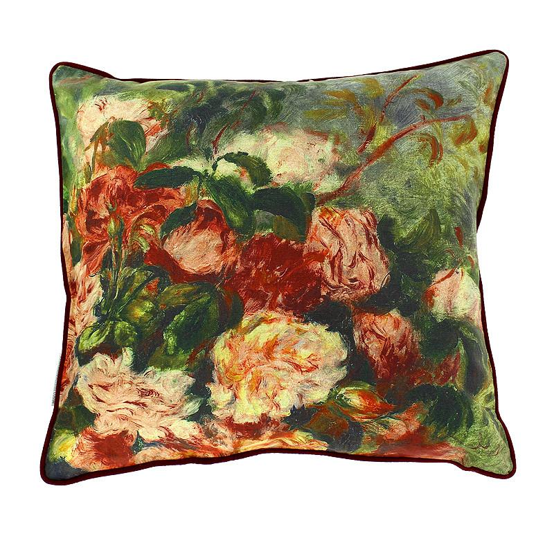 """Funda Cojín """"Rosas en un jarrón"""" Renoir"""