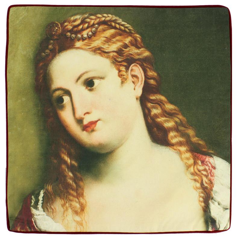 Funda de cojín Retrato de una joven de Paris Bordone