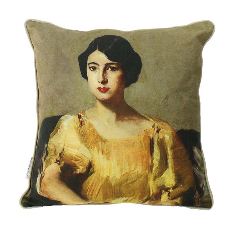 Funda de cojín Sorolla: Elena con túnica amarilla