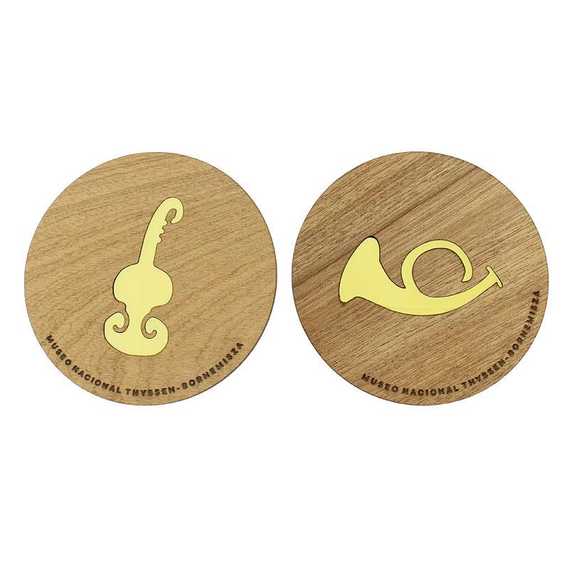 Set de dos posavasos de madera Beckmann: Instrumentos