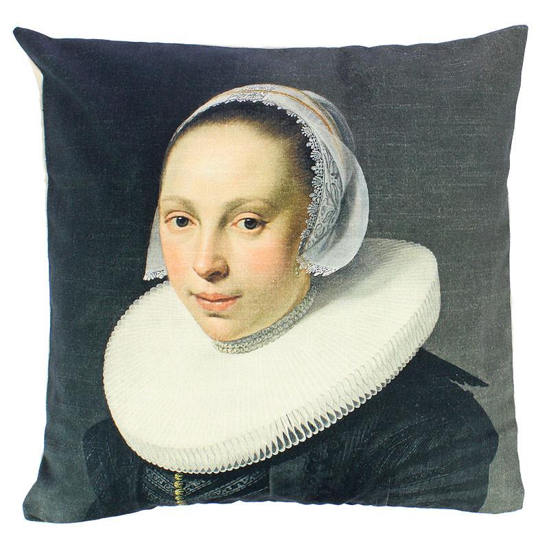Funda cojín Nicolaes Eliaz retrato de una mujer