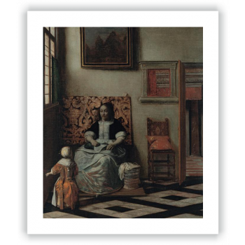 Interior con una mujer cosiendo y un niño