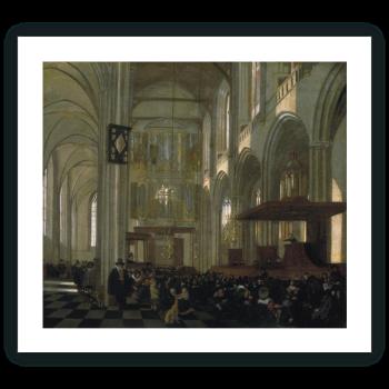 Interior de la Nieuwe Kerk en Amsterdam, durante el oficio