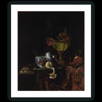 Bodegón con cuenco chino, copa nautilo y otros objetos