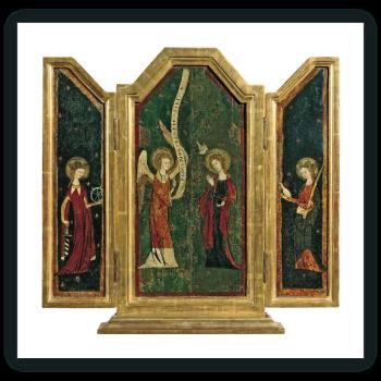 Tríptico de la Anunciación: La Anunciación (tabla central), Santa Catalina (tabla interior izquierda), Santa Inés (tabla interior derecha)