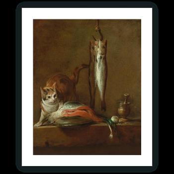 """Bodegón con gato y pescado (""""El ladrón con buena fortuna"""")"""