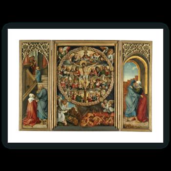 Tríptico del rosario: La Crucifixión (tabla central), La Presentación (tabla interior izda.), El abrazo en la puerta dorada (tabla interior dcha.)