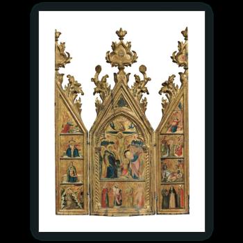 Tríptico portátil: La Crucifixión (tabla central), El Arcángel Gabriel y otras escenas (tabla interior izquierda),La Virgen de la Anunciación y otras escenas (tabla interior derecha)