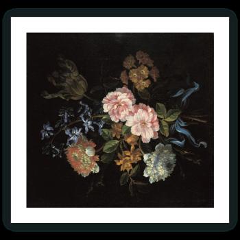 Ramo compuesto por anémonas-coronarias, rosas de York y Lancaster y otras flores