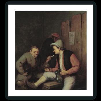 Campesinos bebiendo y fumando en una taberna