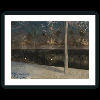 Paisaje nocturno nevado (Haarlem)