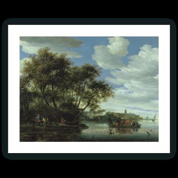 Vista del río Vecht, con un embarcadero, pescadores y el Castillo de Nijenrode en la lejanía