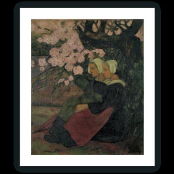 Dos bretonas bajo un manzano en flor
