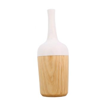 Jarrón de madera blanco Morandi