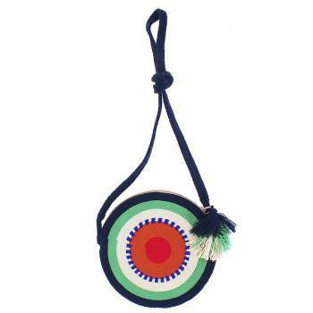 Bolso Wayuu La portuguesa de Delaunay. Borde azul/verde