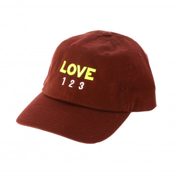 Gorra Love, Love, Love burdeos y lima