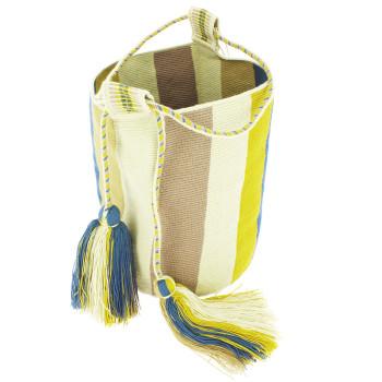Bolso grande Wayuu La portuguesa de Delaunay color mostaza y azul