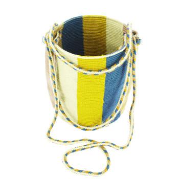 Bolso pequeño Wayuu La portuguesa de Delaunay color mostaza y azul