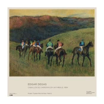 Póster Edgar Degas: Caballos de carreras en un paisaje