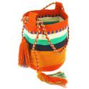 small Bolso grande Wayuu La portuguesa de Delaunay color rojo, naranja y azul 0