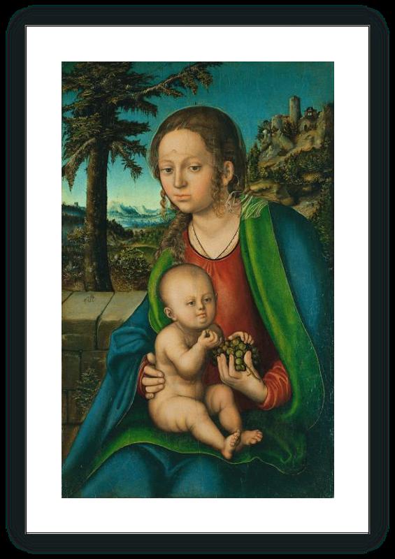 zoom La Virgen y el Niño con un racimo de uvas