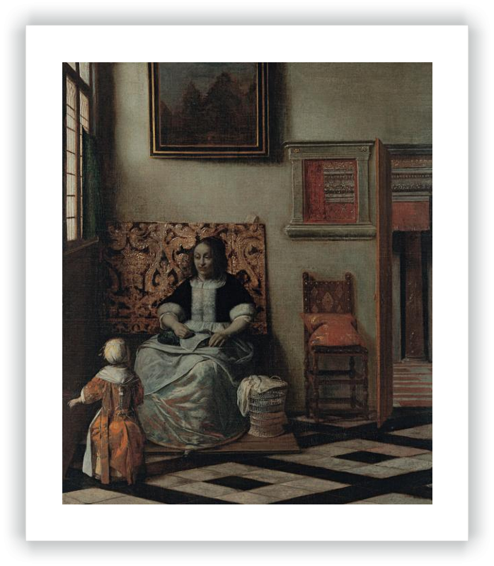 zoom Interior with a Woman sewing and a Child
