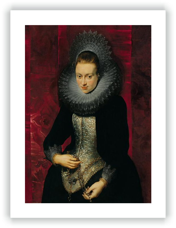 zoom Portrait of a young Woman with a Rosary