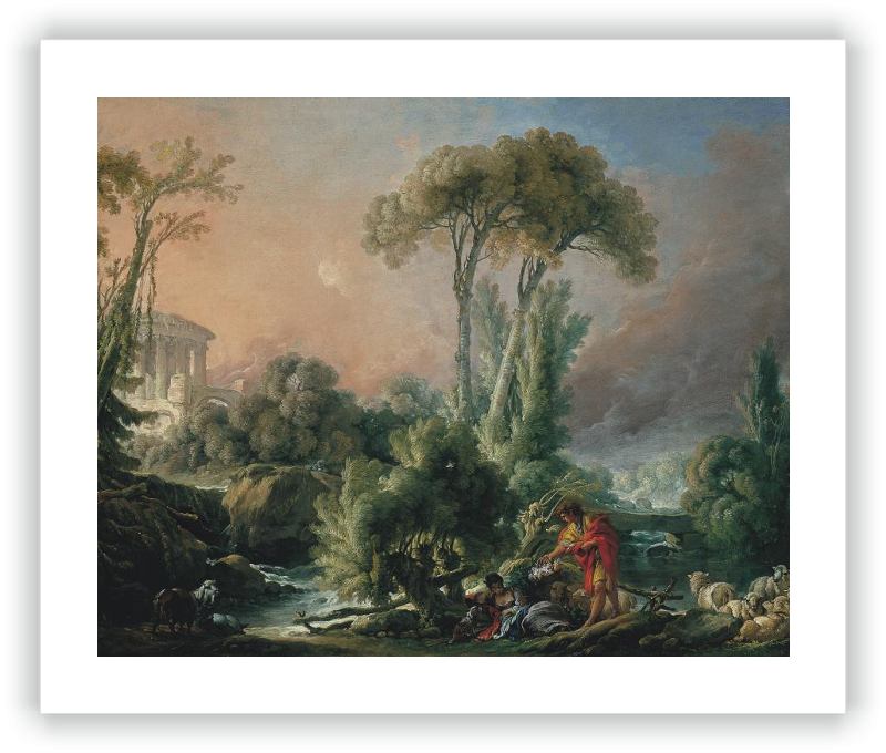 zoom River Landscape with an Antique Temple