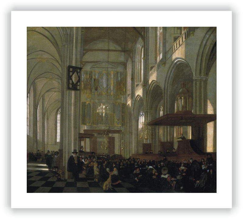 zoom Interior of the Nieuwe Kerk, Amsterdam, during a Service