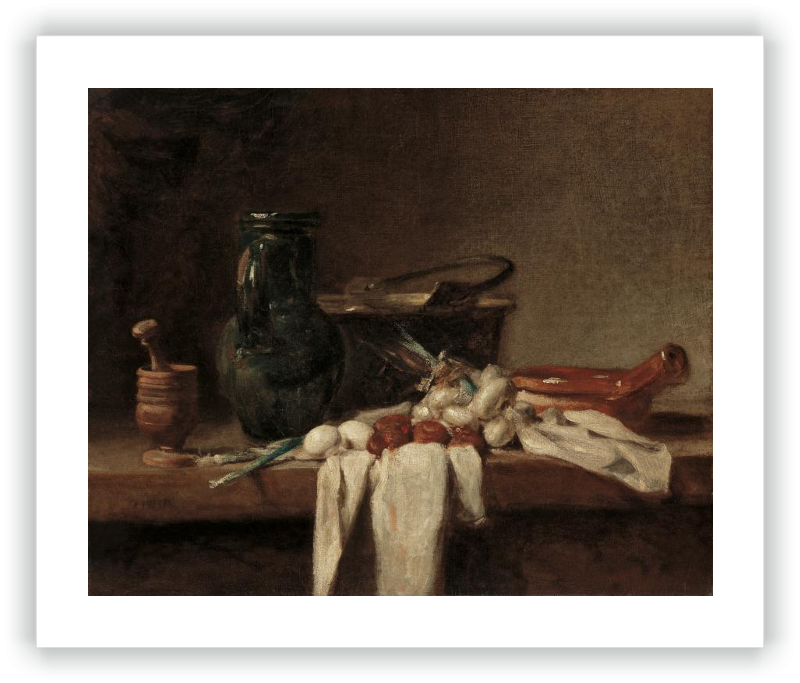 zoom Still Life with Pestle and Mortar, Pitcher and copper Cauldron