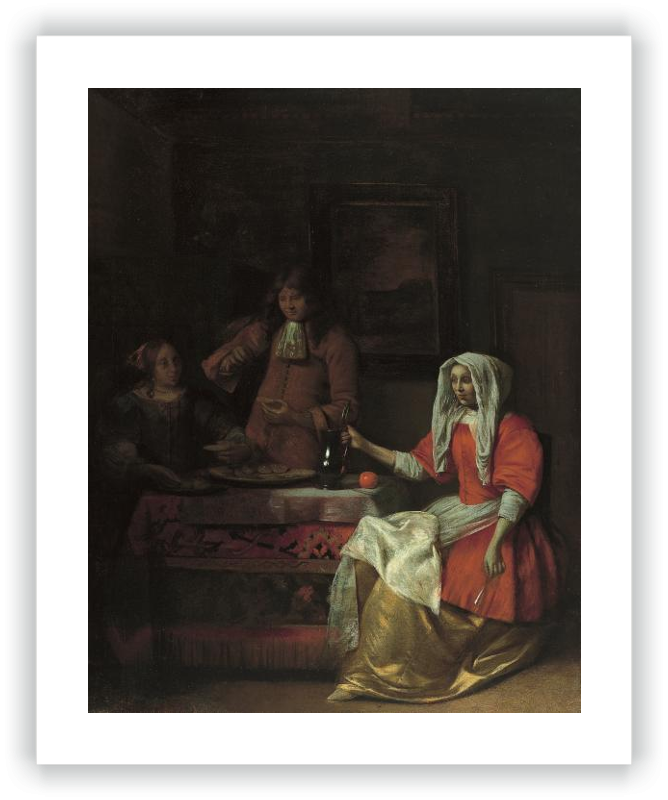 zoom Interior with Two Women and a Man Drinking and Eating Oysters