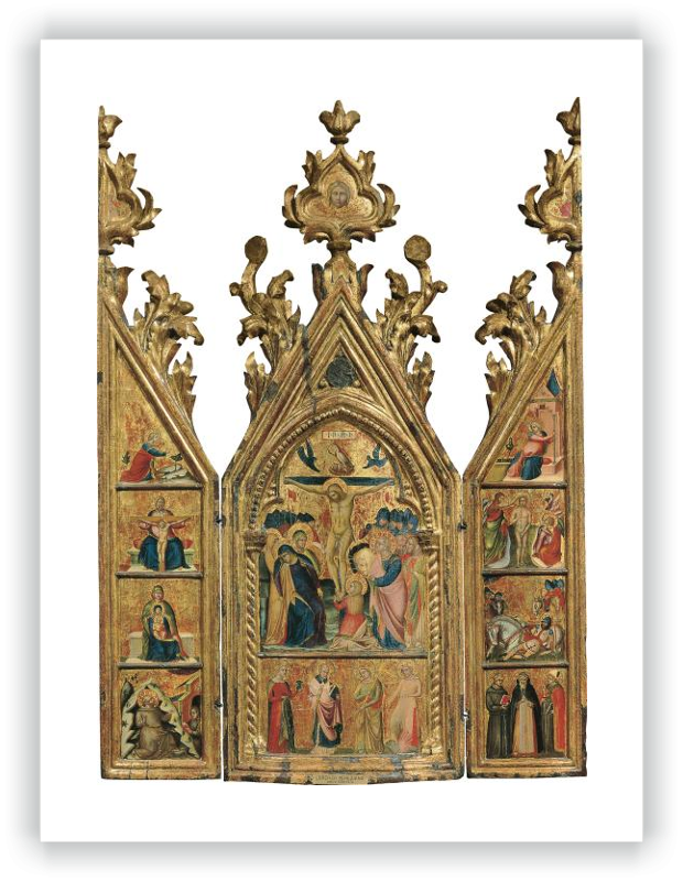 zoom Portable Triptych with a central Crucifixion